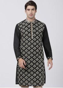 Kurta Printed Blended Cotton in Black