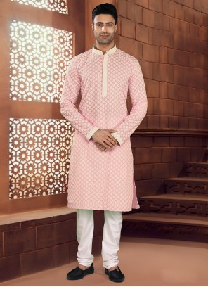 Kurta Pyjama Chikankari Work Cotton in Pink