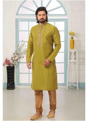 Kurta Pyjama Embroidered Art Banarasi Silk in Green