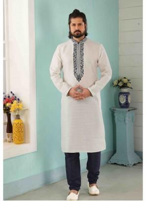 Kurta Pyjama Embroidered Art Banarasi Silk in Off White