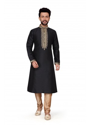 Kurta Pyjama Embroidered Art Dupion Silk in Black