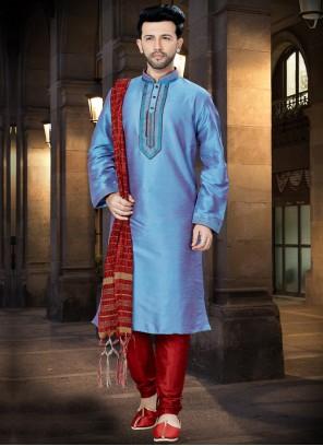 Kurta Pyjama Embroidered Art Dupion Silk in Blue