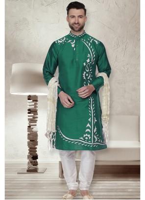 Kurta Pyjama Embroidered Art Dupion Silk in Green