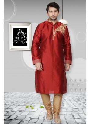 Kurta Pyjama Embroidered Art Dupion Silk in Maroon