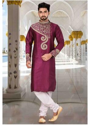 Kurta Pyjama Embroidered Art Dupion Silk in Purple