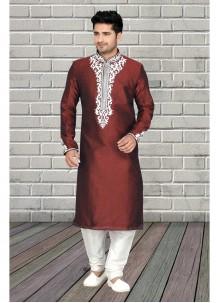 Kurta Pyjama Embroidered Art Dupion Silk in Wine