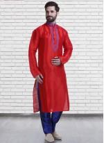 Kurta Pyjama Embroidered Art Silk in Red