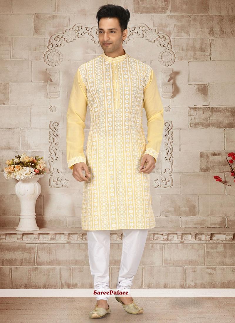 Kurta Pyjama Embroidered Cotton in Yellow