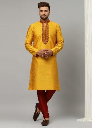 Kurta Pyjama Embroidered Dupion Silk in Yellow