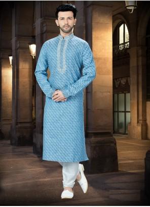 Kurta Pyjama Embroidered Jacquard in Blue