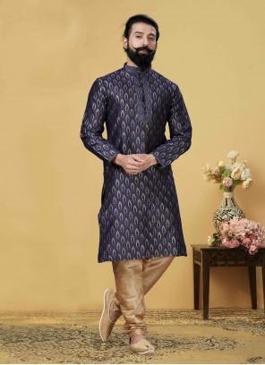 Kurta Pyjama Embroidered Jacquard Silk in Blue
