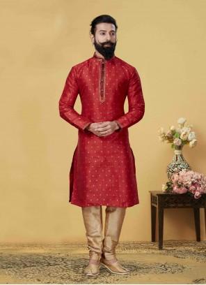 Kurta Pyjama Embroidered Jacquard Silk in Red