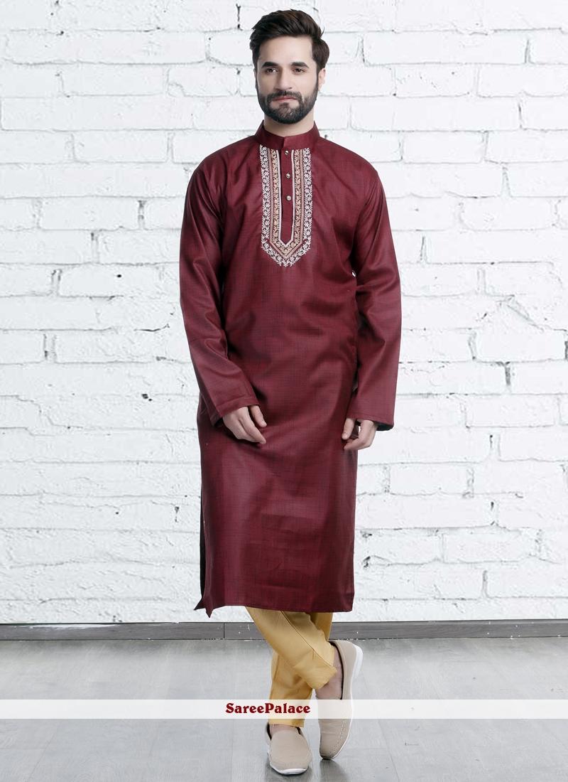 Kurta Pyjama Embroidered Polyester in Maroon