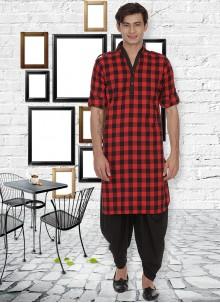 Kurta Pyjama Patchwork Cotton in Red