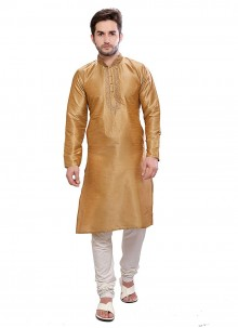 Kurta Pyjama Plain Art Dupion Silk in Gold