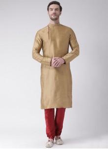 Kurta Pyjama Plain Art Dupion Silk in Gold