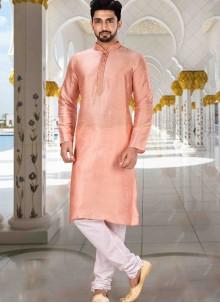 Kurta Pyjama Plain Art Dupion Silk in Pink