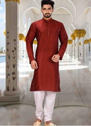Kurta Pyjama Plain Art Dupion Silk in Red