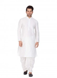 Kurta Pyjama Plain Art Dupion Silk in White