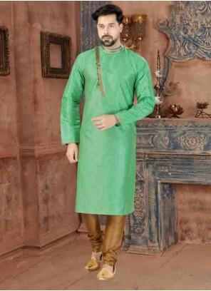 Kurta Pyjama Plain Art Silk in Green