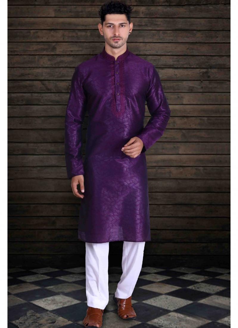 Kurta Pyjama Plain Art Silk in Purple