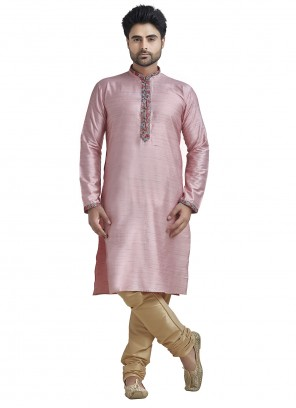 Kurta Pyjama Plain Bhagalpuri Silk in Pink