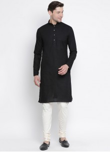 Kurta Pyjama Plain Cotton in Black