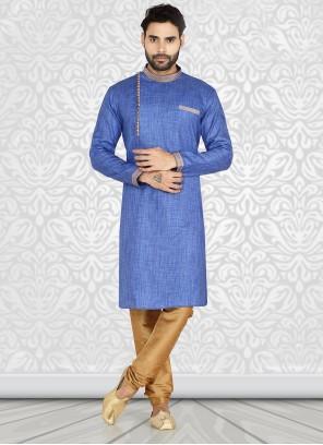 Kurta Pyjama Plain Cotton in Blue