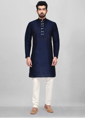 Kurta Pyjama Plain Dupion Silk in Blue