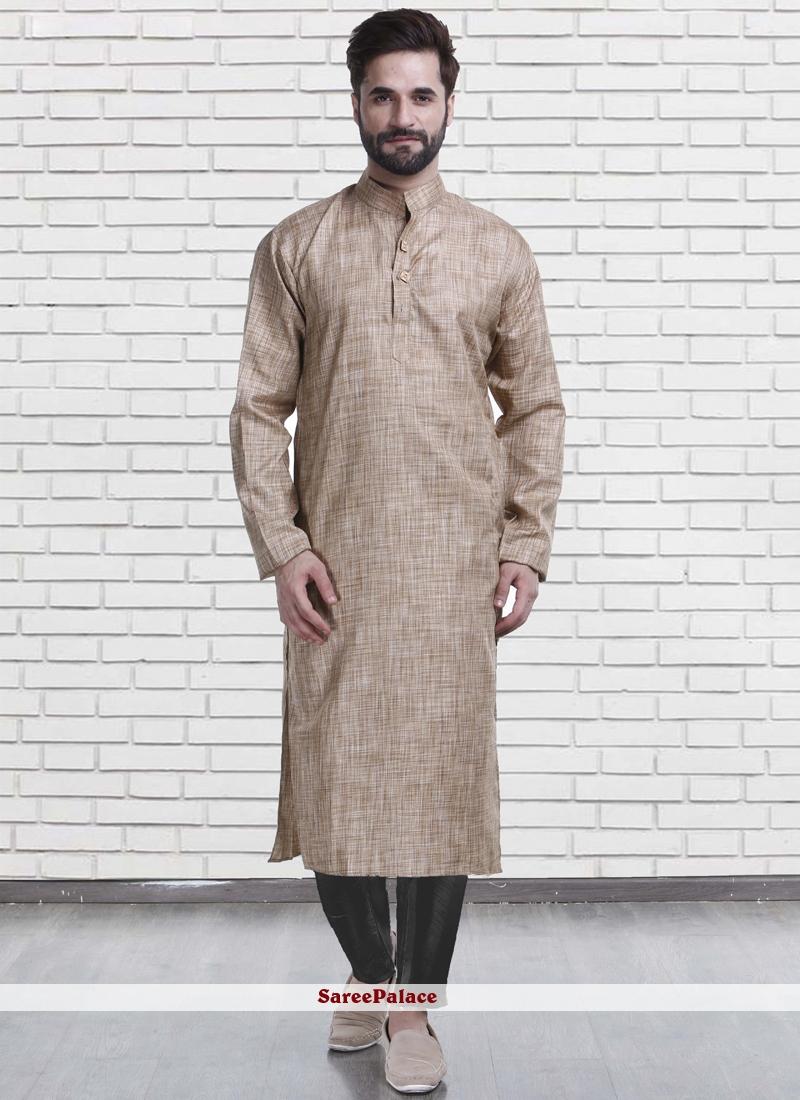 Kurta Pyjama Plain Poly Cotton in Brown