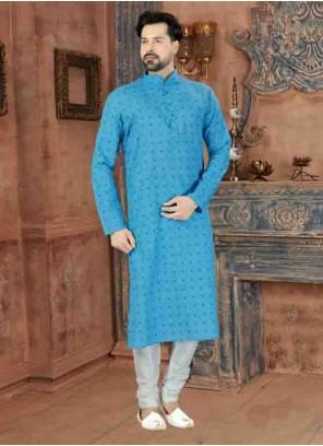 Kurta Pyjama Print Art Silk in Blue