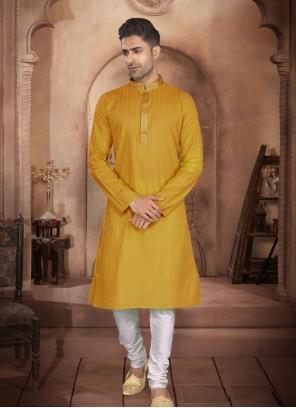 Kurta Pyjama Print Cotton in Mustard
