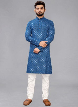Kurta Pyjama Printed Cotton in Navy Blue