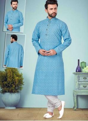 Kurta Pyjama Printed Cotton Silk in Blue