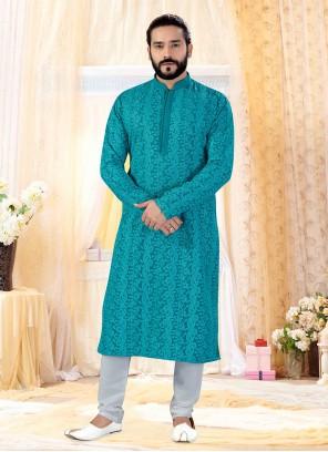 Kurta Pyjama Printed Georgette in Green