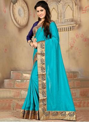 Lace Aqua Blue Designer Saree