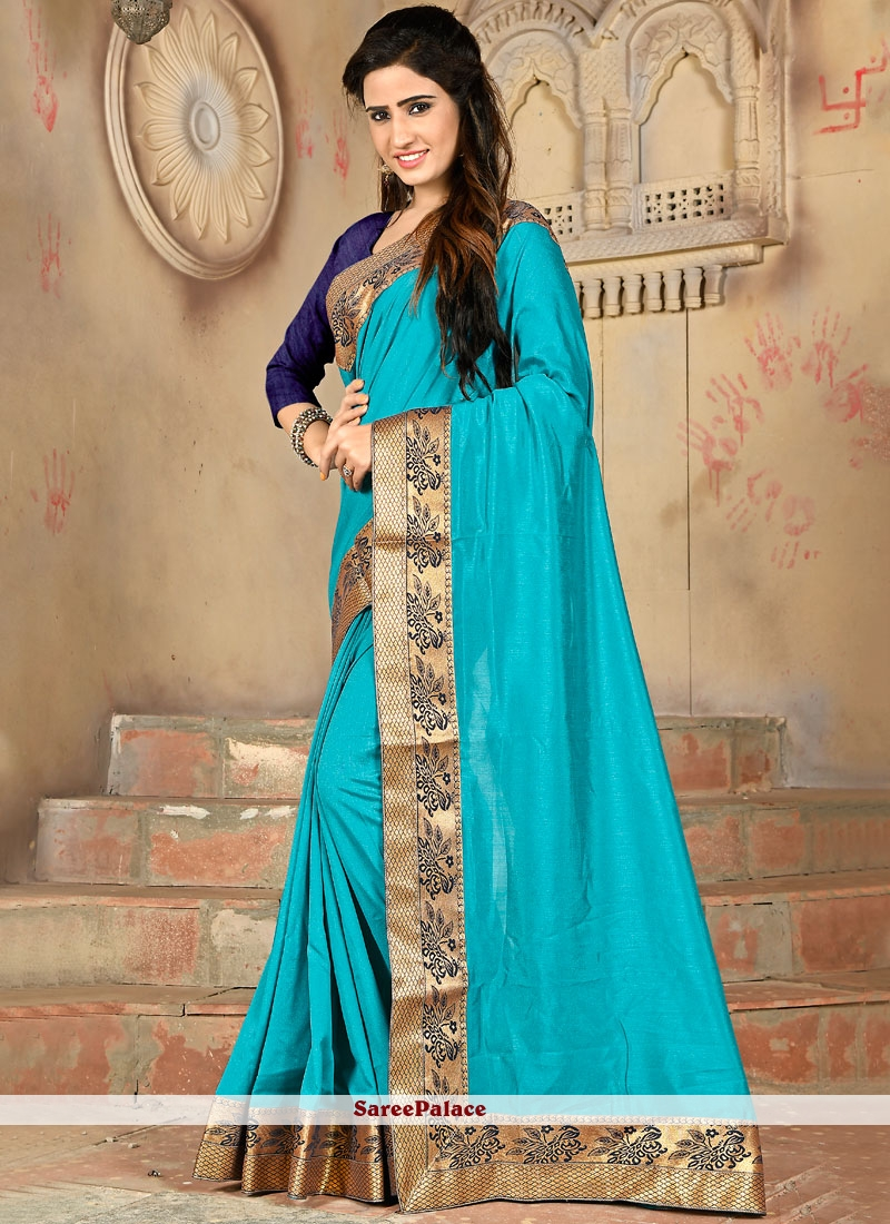 Lace Aqua Blue Designer Saree