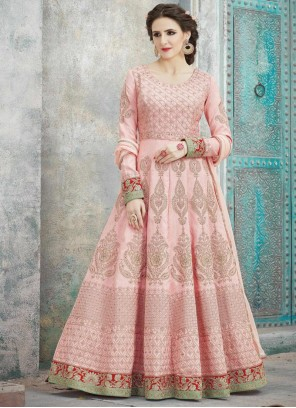 Lace Art Silk Floor Length Anarkali Suit in Pink