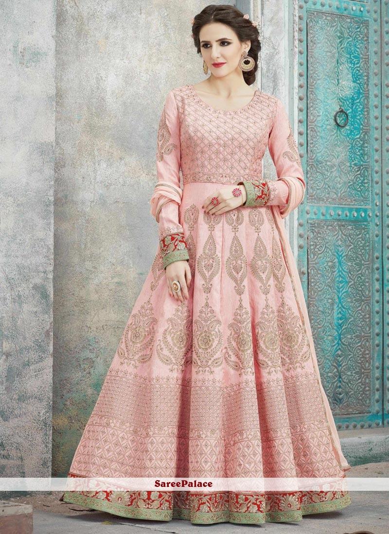Lace Art Silk Floor Length Anarkali Suit in Pink