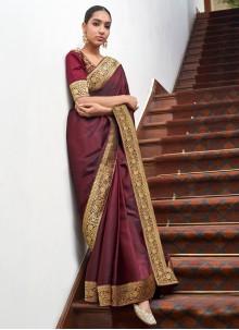Lace Art Silk Maroon Designer Traditional Saree