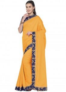 Lace Art Silk Mustard Traditional Saree