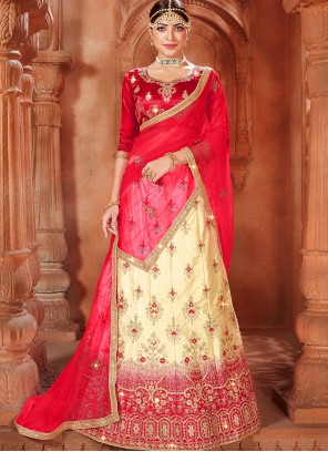Lace Beige and Red Embroidered Lehenga Choli