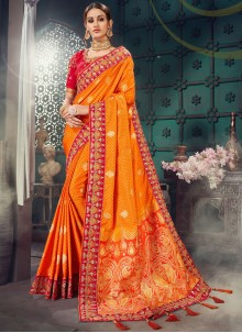 Lace Bhagalpuri Silk Orange Classic Saree