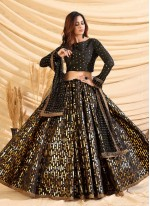 Lace Black Tafeta Silk Lehenga Choli