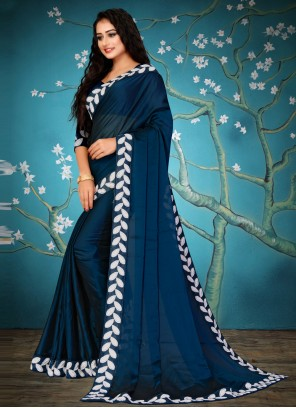 Lace Blue Fancy Fabric Traditional Saree