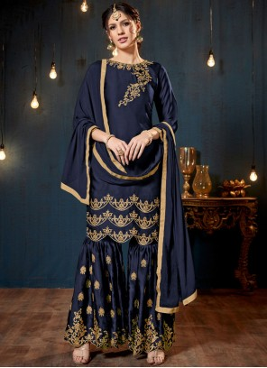 Lace Blue Faux Georgette Designer Pakistani Suit