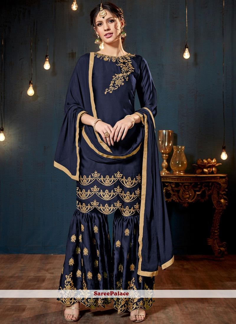Lace Blue Faux Georgette Designer Pakistani Suit