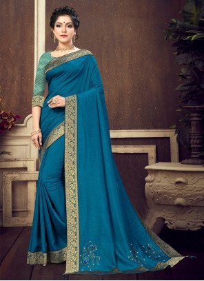 Lace Blue Silk Designer Traditional Saree