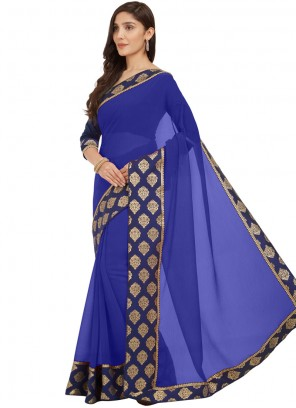 Blue Lace Casual Saree