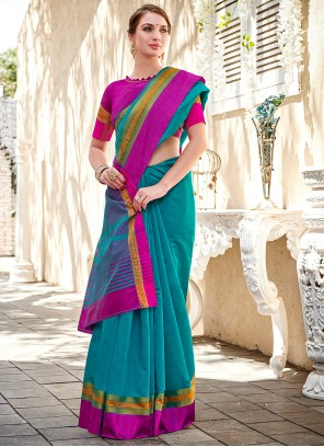 Lace Turquoise Classic Saree